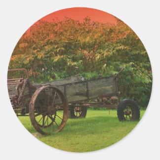 Carro de la granja etiqueta redonda