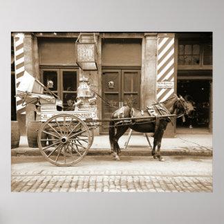 Carro de la leche de New Orleans en Luisiana 1905 Póster