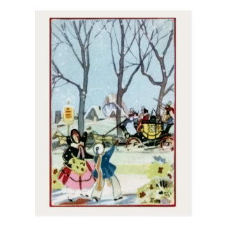 Carro de la mujer del chica del navidad del postal