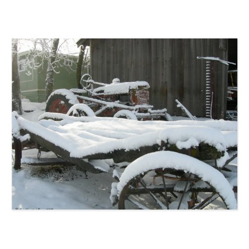 Carro de la nieve tarjeta postal