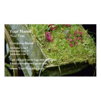 Carro de madera violeta plantado con flo de los ju tarjeta de visita