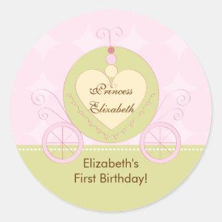 Carro de princesa Birthday Sticker Pretty Royal Etiquetas Redondas