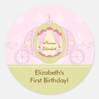 Carro de princesa Birthday Sticker Pretty Royal Pegatinas Redondas