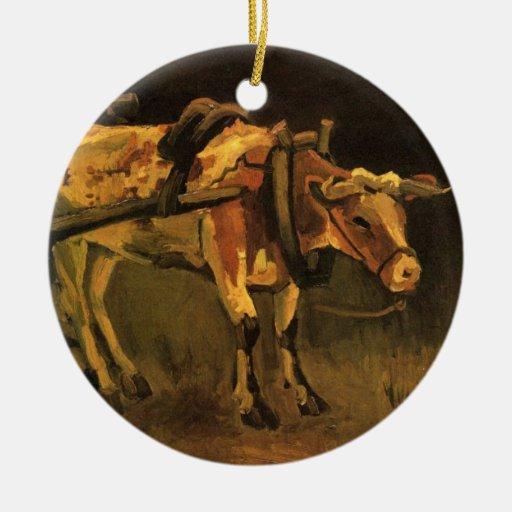 Carro de Van Gogh con el buey blanco rojo, bella a Ornaments Para Arbol De Navidad