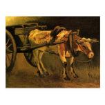 Carro de Van Gogh con el buey blanco rojo, bella a Tarjeta Postal