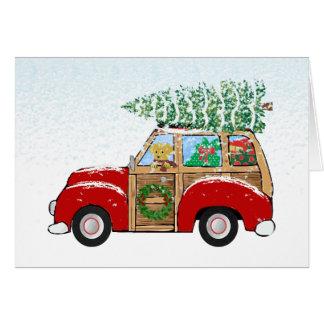 Carro de Woody del navidad del vintage que trae a Tarjeta De Felicitación