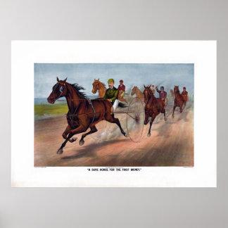 Carro del caballo del vintage que compite con la i impresiones