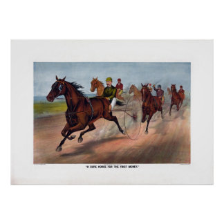 Carro del caballo del vintage que compite con la i póster