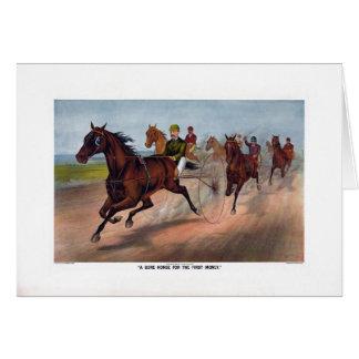 Carro del caballo del vintage que compite con la i tarjeta de felicitación