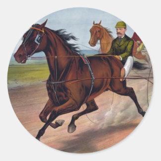 Carro del caballo del vintage que compite con la pegatinas redondas