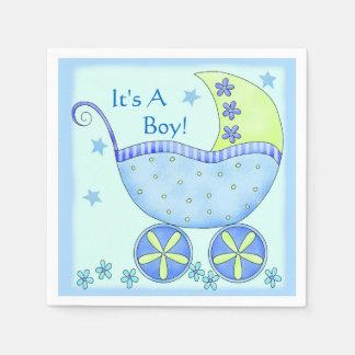 Carro del cochecillo de bebé azul modificado para servilleta de papel