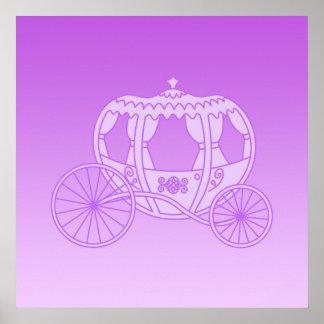 Carro del cuento de hadas en púrpura poster