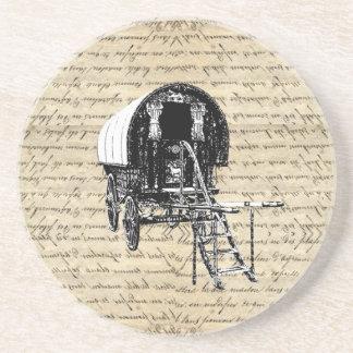 Carro del gitano del Romany del vintage Posavasos Diseño
