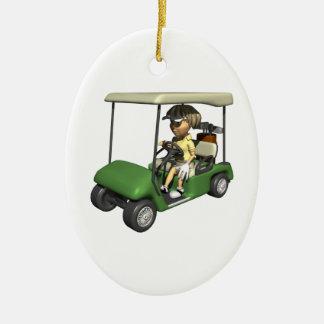 Carro del golfista de la mujer adorno navideño ovalado de cerámica