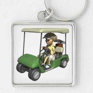 Carro del golfista de la mujer llavero