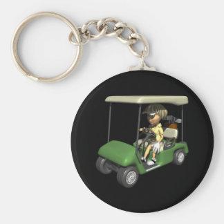 Carro del golfista de la mujer llavero redondo tipo pin