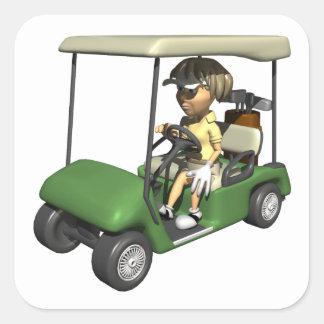 Carro del golfista de la mujer pegatina cuadrada