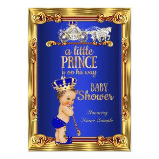 """Carro del oro del azul real del príncipe fiesta de invitación 5"""" x 7"""""""