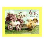 Carro del polluelo de Pascua del vintage Postal
