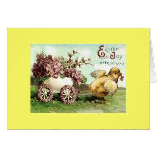 Carro del polluelo de Pascua del vintage Tarjeta De Felicitación