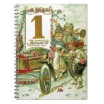 Carro del vintage por Año Nuevo Libro De Apuntes