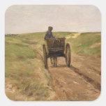 Carro en Katwijk, 1889 Calcomanía Cuadrada