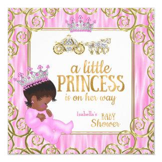 """Carro étnico del caballo del rosa de la princesa invitación 5.25"""" x 5.25"""""""