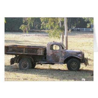 Carro jubilado del poder, camioneta pickup vieja tarjeta de felicitación