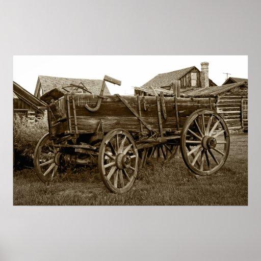 Carro pionero de la carga - pueblo fantasma de la  póster