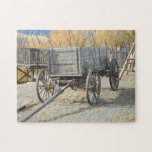 Carro pionero del oeste viejo puzzle con fotos