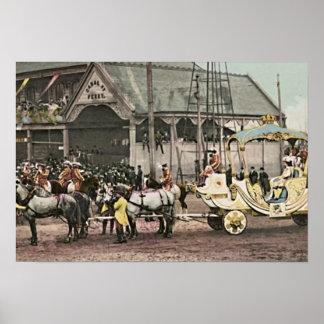 Carro real de New Orleans Luisiana Rexs Póster