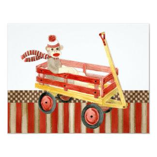 """Carro rojo del mono del calcetín, gracias las invitación 4.25"""" x 5.5"""""""