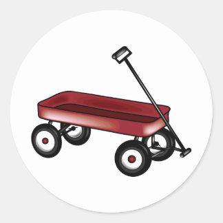 Carro rojo etiqueta redonda