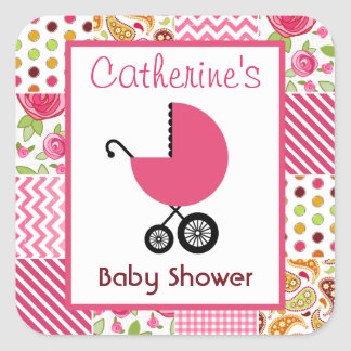Carro rosado de la fiesta de bienvenida al bebé y pegatina cuadrada