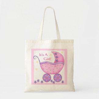 Carro rosado del cochecillo de bebé del chica bolsa tela barata