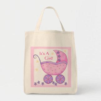 Carro rosado del cochecillo de bebé del chica bolsa de mano