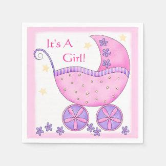 Carro rosado del cochecillo de bebé es una ducha servilletas desechables