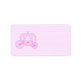 Carro rosado del cuento de hadas etiquetas de dirección
