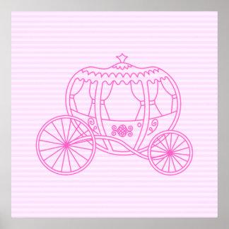 Carro rosado del cuento de hadas posters