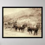 Carro SD 1890 del tesoro de Wells Fargo Deadwood Póster