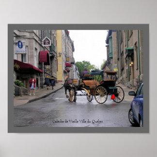 Carro traído por caballo de la ciudad vieja de Qué Póster