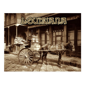 Carro traído por caballo de la leche, New Orleans, Postales