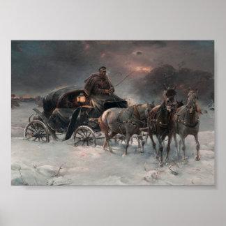 Carro traído por caballo en la noche póster