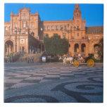 Carro traído por caballo en la plaza de Espana ade Azulejos