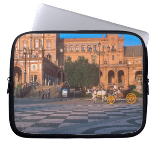 Carro traído por caballo en la plaza de Espana ade Mangas Portátiles