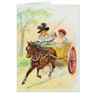 Carro traído por caballo tarjeta de felicitación