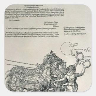 Carro triunfal del emperador Maximiliano I Calcomanía Cuadrada