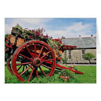 Carro viejo flores de Snowdonia Tarjeton