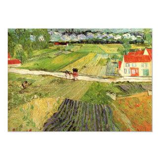 Carro y tren, arte del paisaje de Van Gogh del Invitación 12,7 X 17,8 Cm