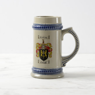 Carroll Coat of Arms Stein / Carroll Family Crest 18 Oz Beer Stein